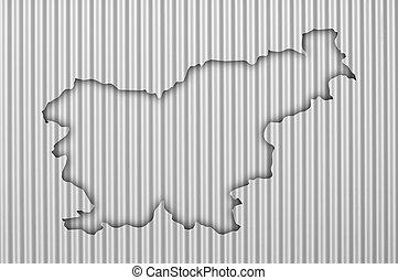 Map of Slovenia on corrugated iron