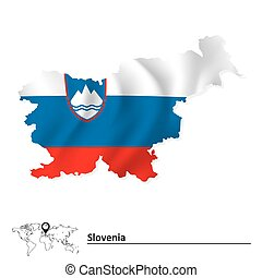 Map of Slovenia with flag