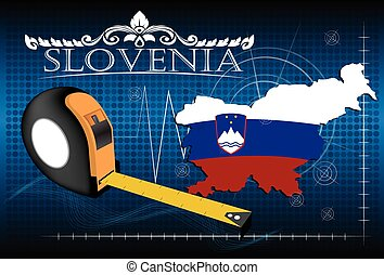 Map of Slovenia with ruler, vector.