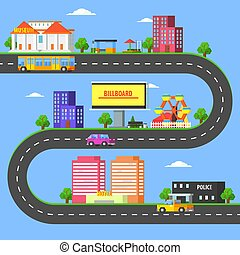 Map of Small Town Part, Summer Urban Landscape with Roads, City Transport and Public Buildings Vector Illustration