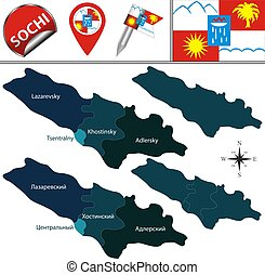 Map of Sochi, Russia - Vector map of Sochi, Russia with ...
