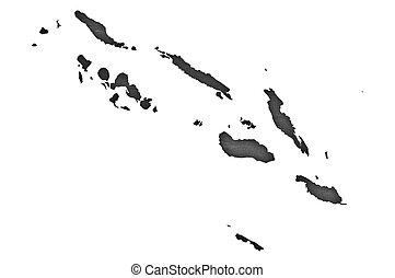 Map of Solomon Islands on dark slate