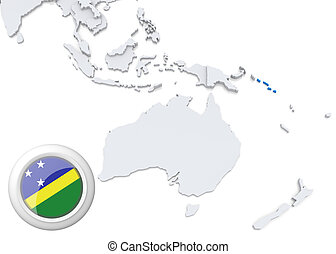 Map of Solomon Islands with national flag