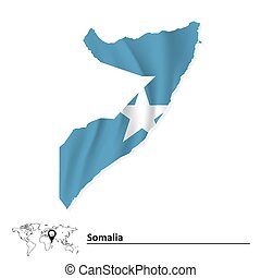 Map of Somalia with flag