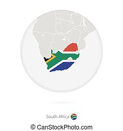 Map of South Africa and national flag in a circle.