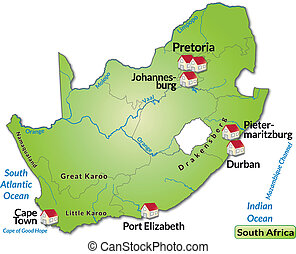 Map of south africa as an infographic in green