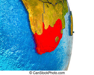 Map of South Africa on 3D Earth