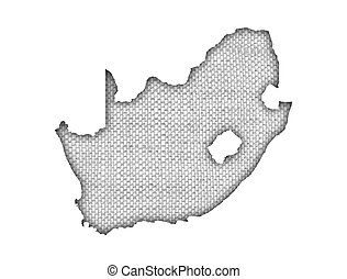 Map of South Africa on old linen