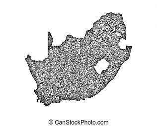 Map of South Africa on poppy seeds