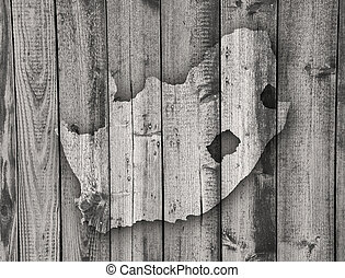 Map of South Africa on weathered wood