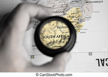 Map of South Africa - Selective focus on antique map of...
