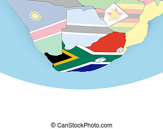 Map of South Africa with flag on globe
