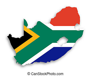 Map of South Africa with national flag