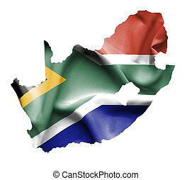 Map of South Africa with waving flag isolated on white