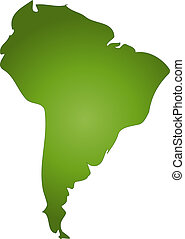 An outlined map of South America. All isolated on white background.