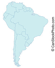 An outlined map of South America in blue tone. All isolated on white background.