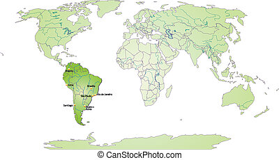 Map of South America and the World with main cities in green
