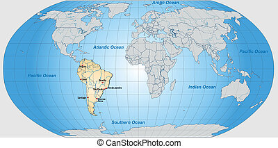 Map of South America and the World with main cities in...