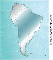 Map of South America as an overview map in blue