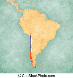 Map of South America - Chile (Vintage Series) - Chile...