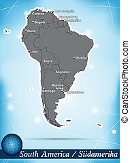 Map of South America with abstract background in blue