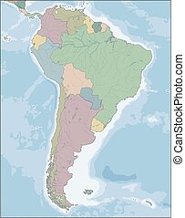 Map of South America continent with countries