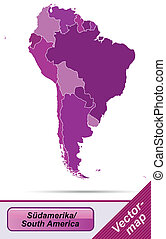 Map of South America with borders in violet