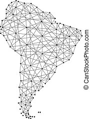Map of South America from polygonal black lines and dots of vector illustration