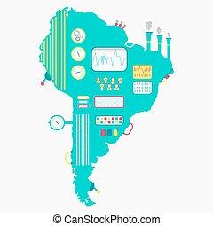 Map of South America machine