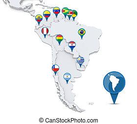 Map of South America - Map of south america with national ...