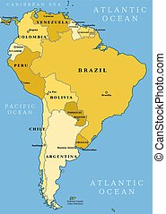 South America - Map of South America. Political division - ...