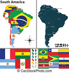 Map of South America - Vector map of South America with...