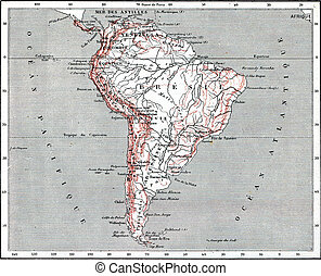 Map of South America, vintage engraving.