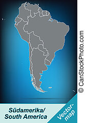 Map of South America with borders in bright gray