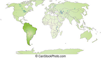 Map of South America with borders in green