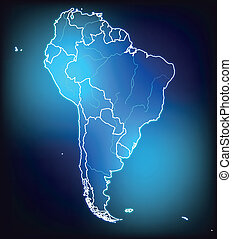 Map of South America with borders with bright colors