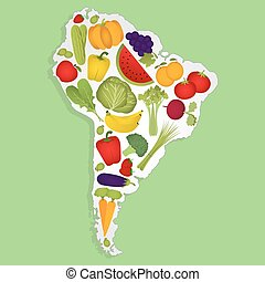 Map of South America with fruits - Map of South America full...