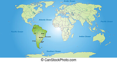 Map of South Americaa and the World with main cities in...