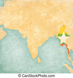 Map of South Asia - Myanmar