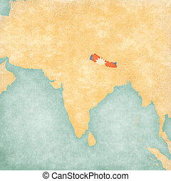 Map of South Asia - Nepal