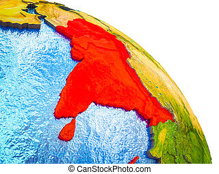 Map of South Asia on 3D Earth - South Asia Highlighted on 3D...