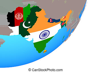 Map of South Asia with flag on globe