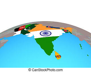 Map of South Asia with flags on globe