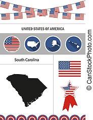 Map of South Carolina. Set of flat design icons nfographics elem