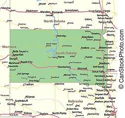 South Dakota - Map of South Dakota. Shows state borders, ...
