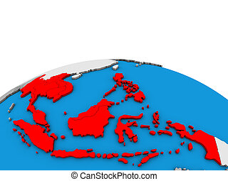 Map of South East Asia on 3D globe