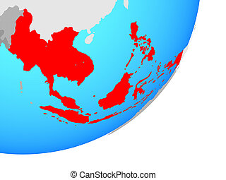 Map of South East Asia on globe
