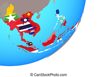 Map of South East Asia with flag on globe