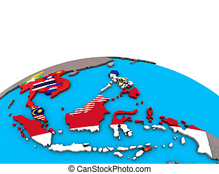 Map of South East Asia with flags on globe