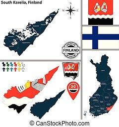 Map of South Karelia, Finland - Vector map of South Karelia...